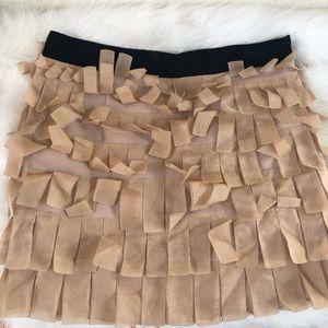 J. Crew pink nude silk fringe party skirt